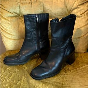 Vintage black leather square toe mid calf boots
